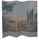 French Hand Painted Six Panel Palace Screen C 1900